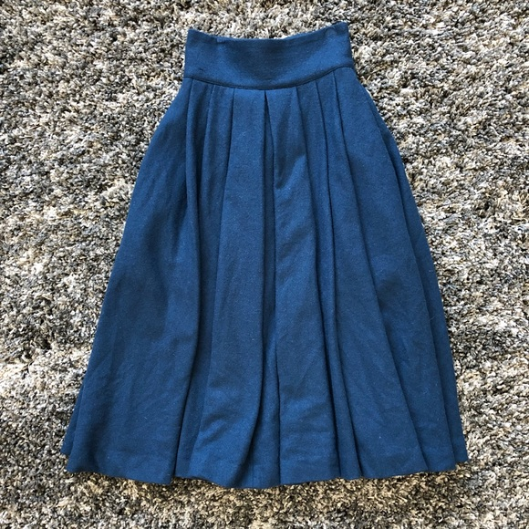 a9384a7eba H&M Skirts   Hm Wool Pleated Midi Skirt Navy Sz 2 Pockets   Poshmark